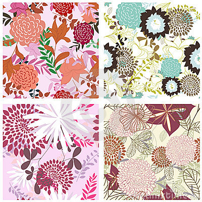 Free Seamless Floral Backgrounds Set Stock Images - 12748564