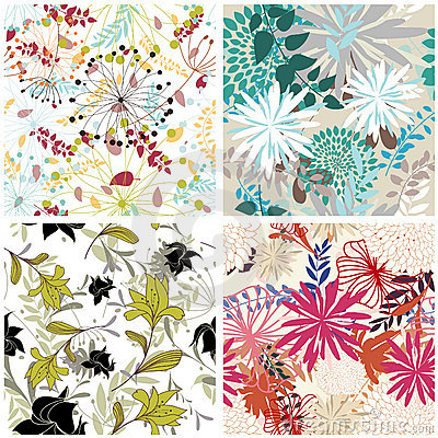 Free Seamless Floral Backgrounds Set Royalty Free Stock Images - 12748569