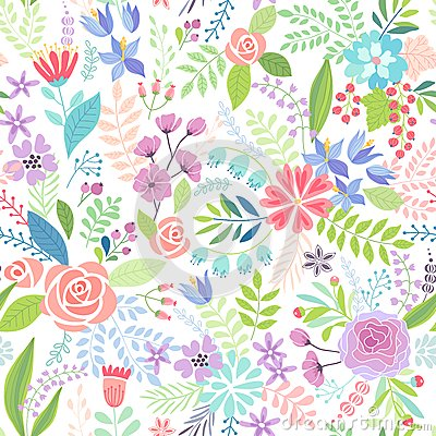 Free Seamless Floral Colorful Hand Drawn Pattern. Stock Photography - 54304052