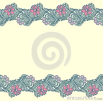 Seamless floral edging pattern