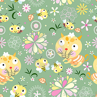 Seamless floral pattern with bees and kittens
