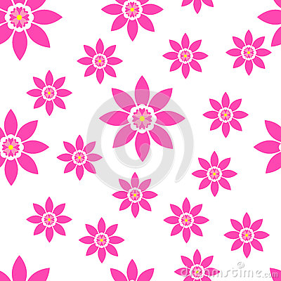 Seamless floral pattern bright spring summer flowers Vector Illustration