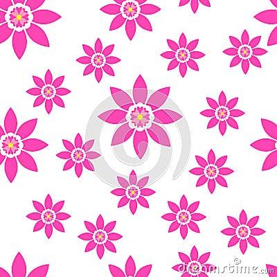 Seamless floral pattern bright spring summer flowers Vector Illustration
