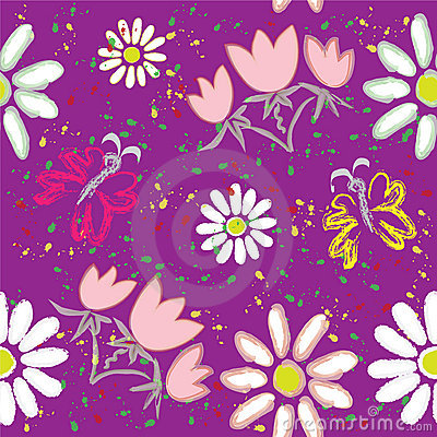 Seamless floral pattern with butterfly and rainbow