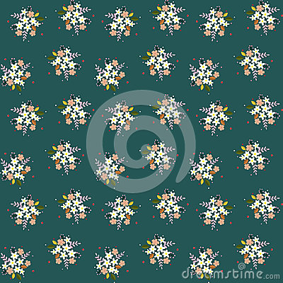 Free Seamless Floral Pattern Composition Small Field Flowers Twigs Berries Leaves On Green Blueish Background, Fabric, Tapestry, Wallpa Royalty Free Stock Photography - 91231277