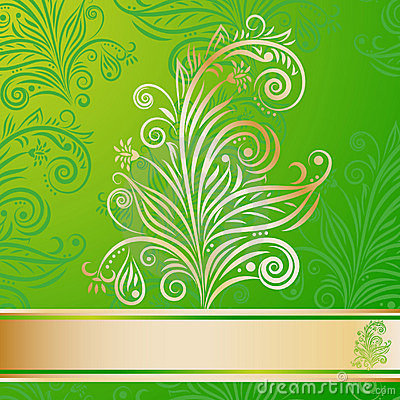 Seamless floral pattern and golden element