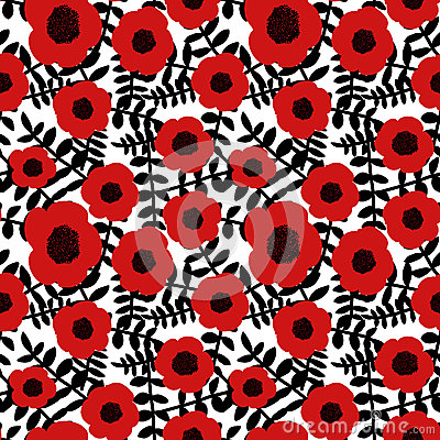 Free Seamless Floral Pattern Hand Drawn Abstract Red Poppy Flowers Black Twigs Leaves White Background, Fabric, Wallpaper Stock Images - 91496354
