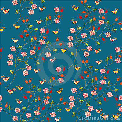 Seamless floral pattern with hips