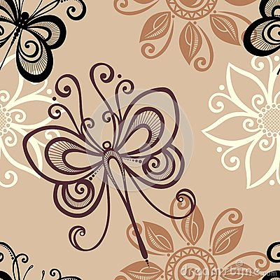 Seamless Floral Pattern with Insects (Vector)