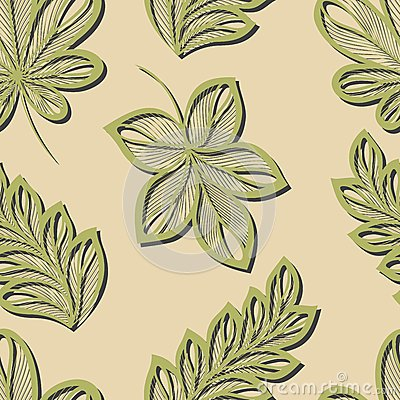 Seamless Floral Pattern with Leaves (Vector)