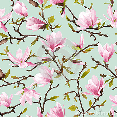 Free Seamless Floral Pattern. Magnolia Flowers And Leaves Background. Stock Photos - 71466973