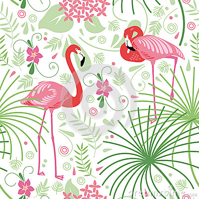 Free Seamless Floral Pattern, Pink Flamingo Royalty Free Stock Photo - 40843215