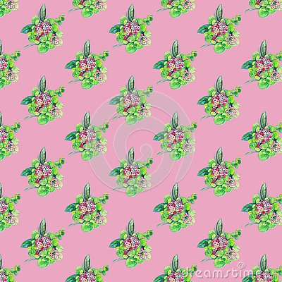 Seamless pattern with flowers and leaves on pink background Stock Photo