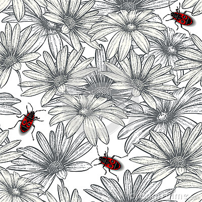 Seamless floral pattern with red beetles.