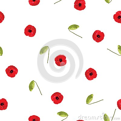 Free Seamless Floral Pattern Red Poppies Small Flowers With Bud On White Royalty Free Stock Photo - 107522255