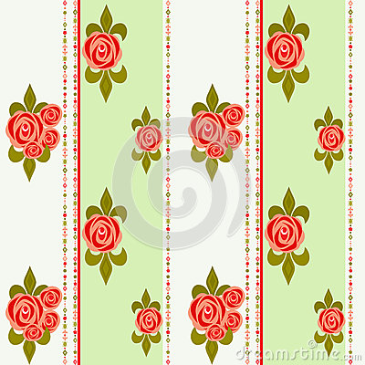 Seamless floral pattern with roses background