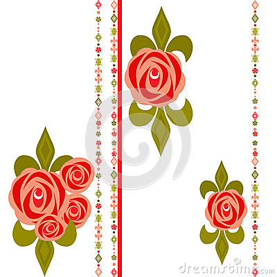 Seamless floral pattern with roses on white