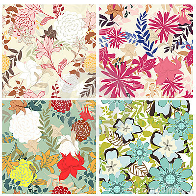 Free Seamless Floral Pattern Set Stock Photos - 16699373