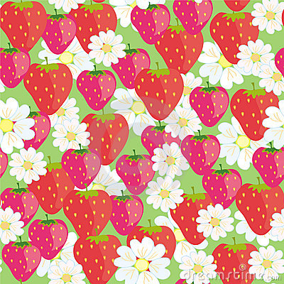 Seamless floral  pattern with strawberries