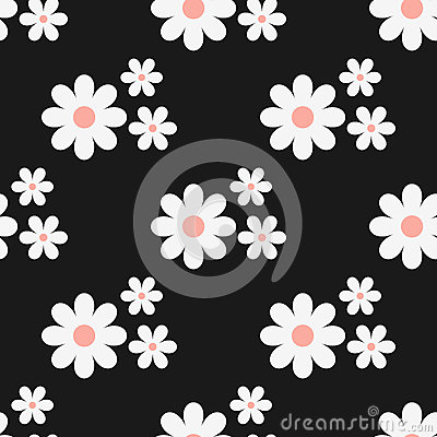 Seamless floral pattern. White flowers on a black background. Vector Illustration