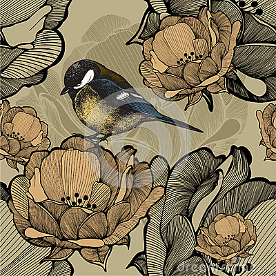 Free Seamless Floral Pattern With Bird Titmouse. Vector Illustration. Royalty Free Stock Image - 37946756