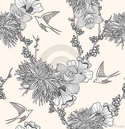 Free Seamless Floral Pattern With Flowers And Birds Royalty Free Stock Image - 22232916