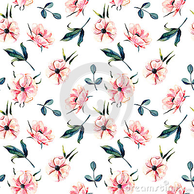 Free Seamless Floral Pattern With Pink Anemone Flowers And Green Leaves Stock Photos - 93187363