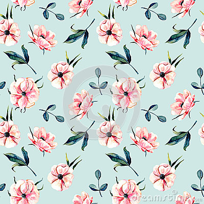 Free Seamless Floral Pattern With Pink Anemone Flowers And Green Leaves Royalty Free Stock Photos - 93187608