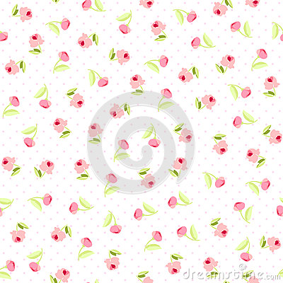 Free Seamless Floral Pattern With Pink Roses Stock Photo - 66291490