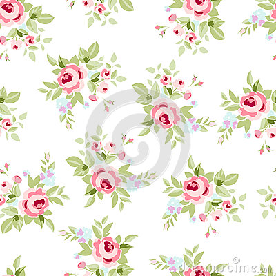 Free Seamless Floral Pattern With Pink Roses Stock Photo - 74763260