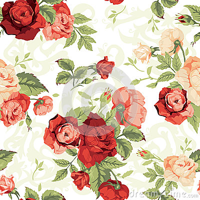 Free Seamless Floral Pattern With Red And Orange Roses On White Backg Royalty Free Stock Image - 50507936