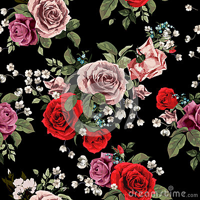 Free Seamless Floral Pattern With Red And Pink Roses On Black Backgro Stock Photography - 50463092
