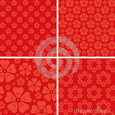 Seamless floral patterns on red background Vector Illustration