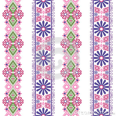 Seamless floral pink green lace pattern on white Stock Photo