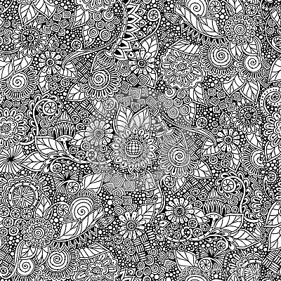 Free Seamless Floral Retro Doodle Black And White Stock Photo - 54209130