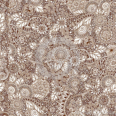 Free Seamless Floral Retro Doodle Grunge  Pattern In Stock Image - 54216321