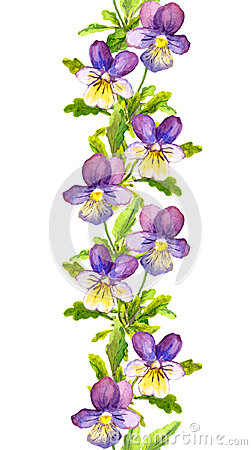 Free Seamless Floral Stripe Border With Botanical Painted Violet Viola Flowers Stock Images - 62602024