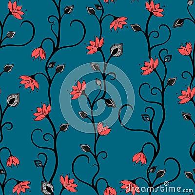 Seamless Floral  vector wallpaper pattern