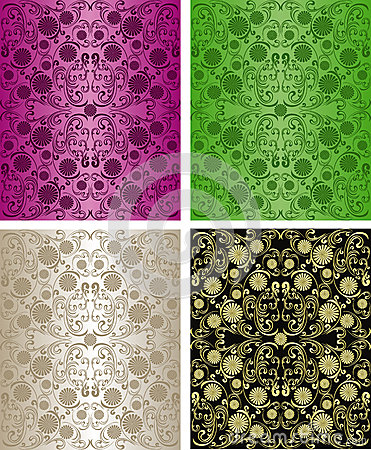 Free Seamless Floral Wallpapers - Set Of Four Colors. Royalty Free Stock Images - 28842789
