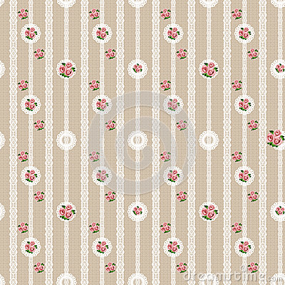 Seamless floral white lace pattern on beige Stock Photo