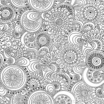 Seamless Flower Black And White Retro Background