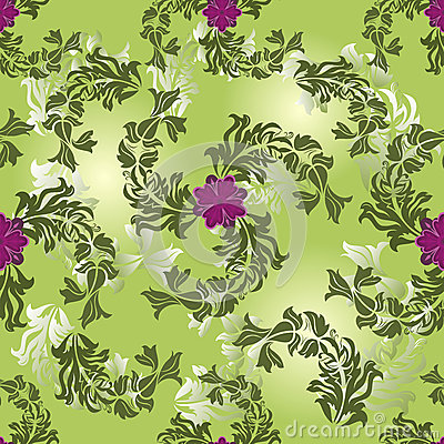 Seamless flower green pattern.