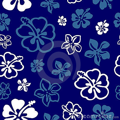 Seamless flower pattern over blue