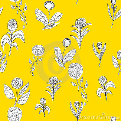Seamless flower pattern on yellow