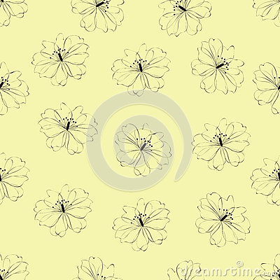 Seamless flower pattern on yellow background