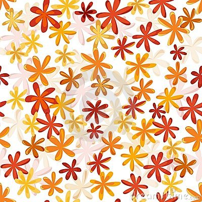 Seamless flower retro pattern in bright autumn col