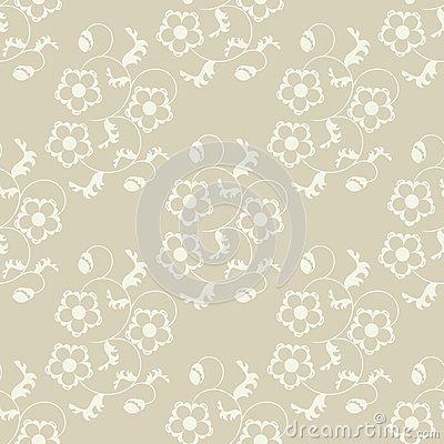 Seamless flowers beige background.