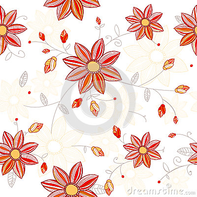 Seamless red flowers pattern