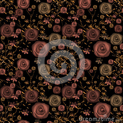 Seamless flowers of roses pattern on black Stock Photo