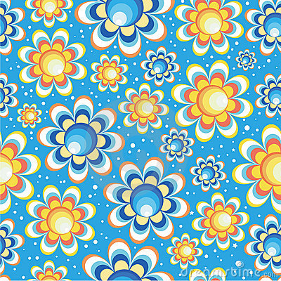 Seamless flowers small circle and small stars